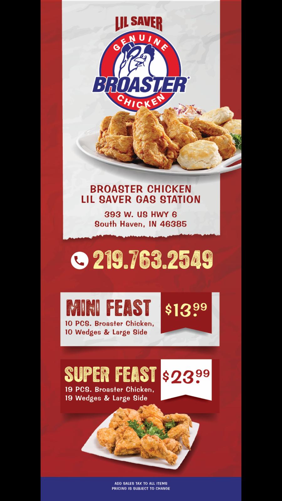 Lil Saver Broaster Chicken - gas station    Photo 9 of 10   Address: W, 393 US-6, Valparaiso, IN 46385, USA   Phone: (219) 763-2549