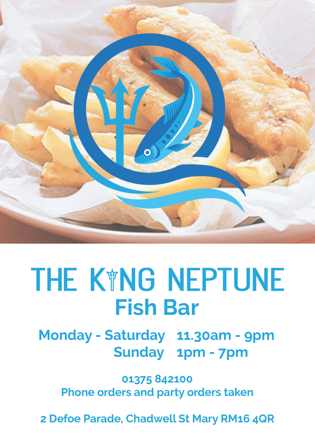 The King Neptune Fish Bar - meal takeaway  | Photo 5 of 7 | Address: 2 Defoe Parade, Chadwell St Mary, Grays RM16 4QR, UK | Phone: 01375 842100