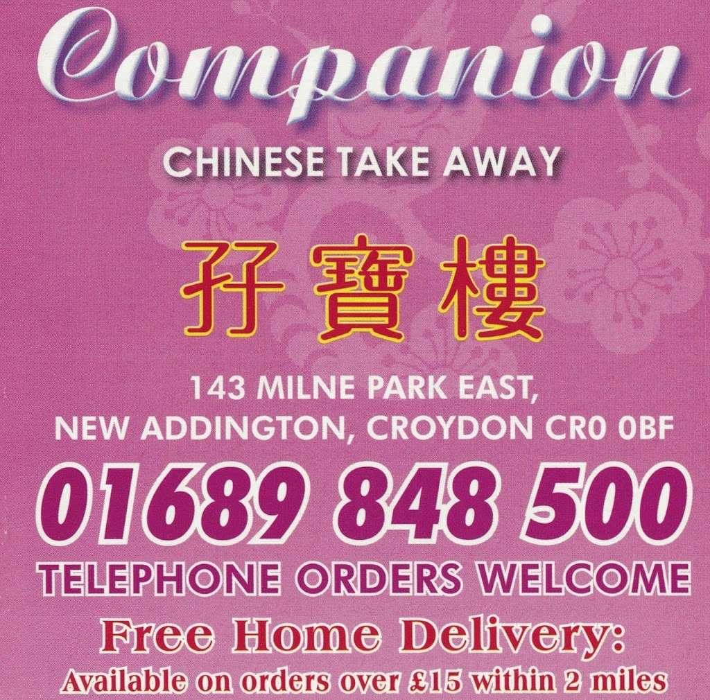 "Companion Chinese Takeaway (Click ""Website"" for Menu) - meal takeaway    Photo 1 of 3   Address: 143 Milne Park E, New Addington, Croydon CR0 0BF, UK   Phone: 01689 848500"