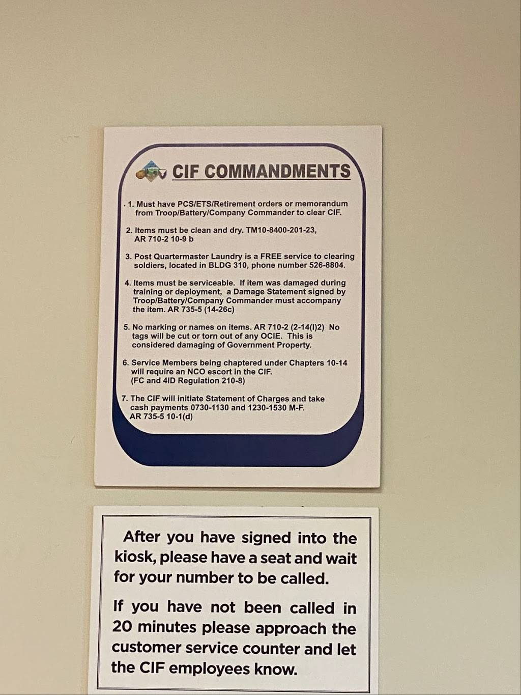 CIF - store    Photo 2 of 2   Address: Fort Carson, CO 80913, USA   Phone: (719) 526-3321