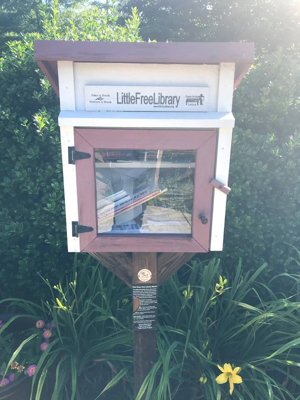 Little Free Library #24504 - library  | Photo 1 of 1 | Address: 6601 Woodlake Village Pkwy, Midlothian, VA 23112, USA | Phone: (715) 690-2488