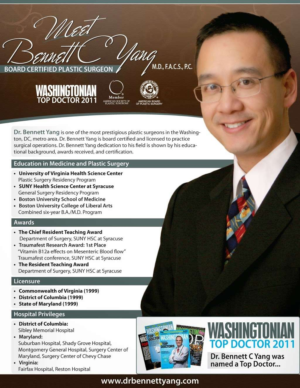 Board certified Plastic Surgeon - Bennett Yang, MD - doctor  | Photo 6 of 7 | Address: 129 Lubrano Dr #101, Annapolis, MD 21401, USA | Phone: (410) 266-6858
