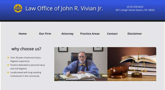 Law Offices of John R. Vivian, Jr. - lawyer    Photo 1 of 2   Address: 831 Lehigh St, Easton, PA 18042, USA   Phone: (610) 258-6625
