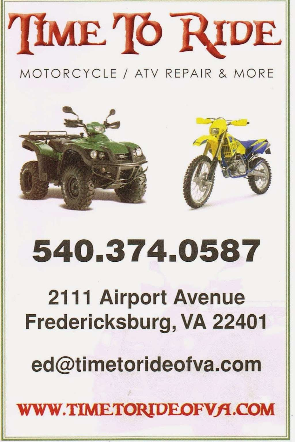 Time to Ride - car repair  | Photo 7 of 7 | Address: 2111 Airport Ave, Fredericksburg, VA 22401, USA | Phone: (540) 374-0587