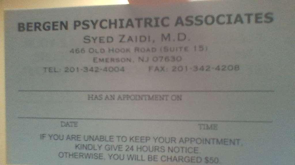 Bergen Psychiatric Associates - doctor  | Photo 1 of 1 | Address: 466 Old Hook Rd STE 15, Emerson, NJ 07630, USA | Phone: (201) 342-4004