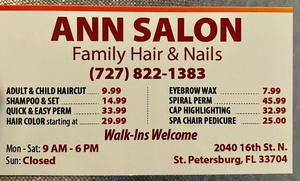 Anns Salon - hair care    Photo 4 of 7   Address: 2040 16th St N, St. Petersburg, FL 33704, USA   Phone: (727) 822-1383