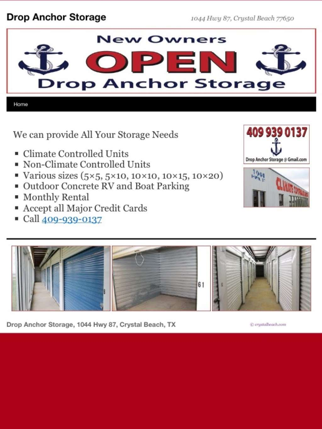 Drop Anchor Storage - storage  | Photo 2 of 3 | Address: 1044 State Hwy 87, Crystal Beach, TX 77650, USA | Phone: (409) 939-0137