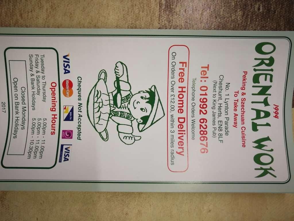 Oriental Wok - meal takeaway    Photo 2 of 2   Address: 1 Turners Hill, Cheshunt, Waltham Cross EN8 8LF, UK   Phone: 01992 628676