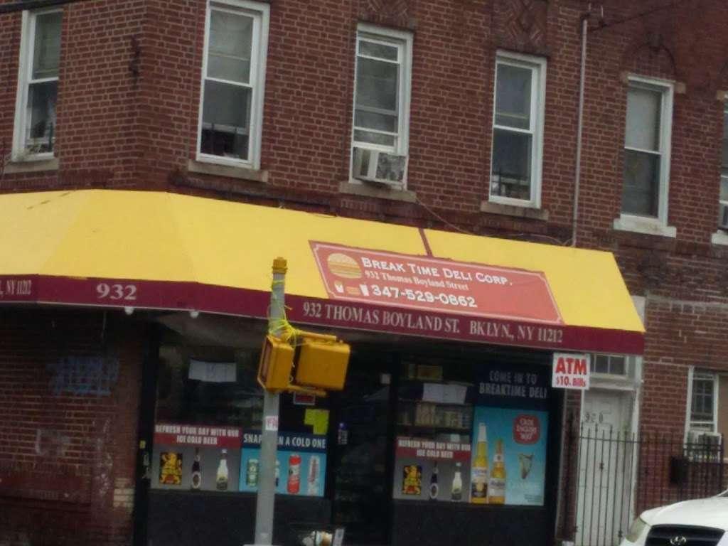 Break Time Deli Corp - store    Photo 2 of 2   Address: 932 Thomas S Boyland St, Brooklyn, NY 11212, USA   Phone: (347) 529-0862