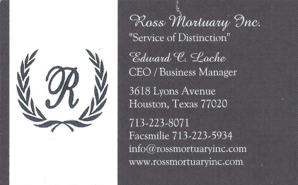 Ross Mortuary Inc. - funeral home  | Photo 6 of 7 | Address: 3618 Lyons Ave, Houston, TX 77020, USA | Phone: (713) 223-8071