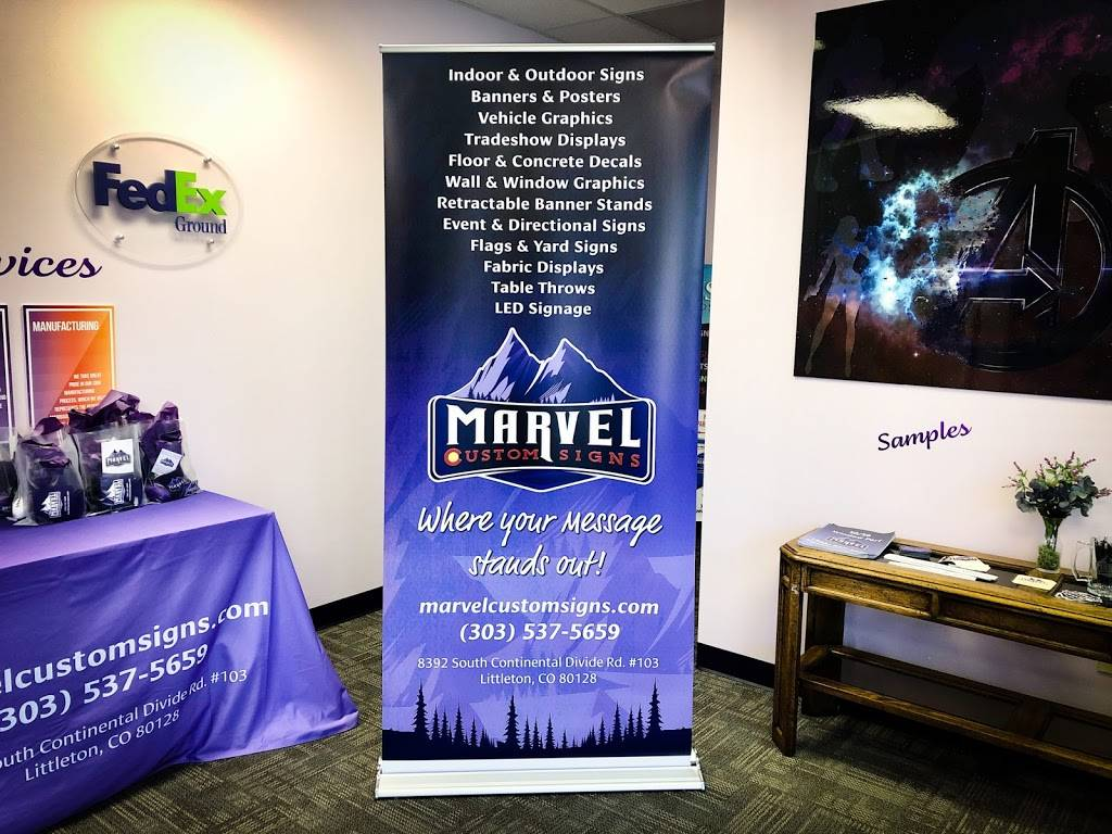 Marvel Custom Signs - store  | Photo 2 of 9 | Address: 8392 S Continental Divide Rd Suite 103, Littleton, CO 80127, USA | Phone: (303) 537-5659