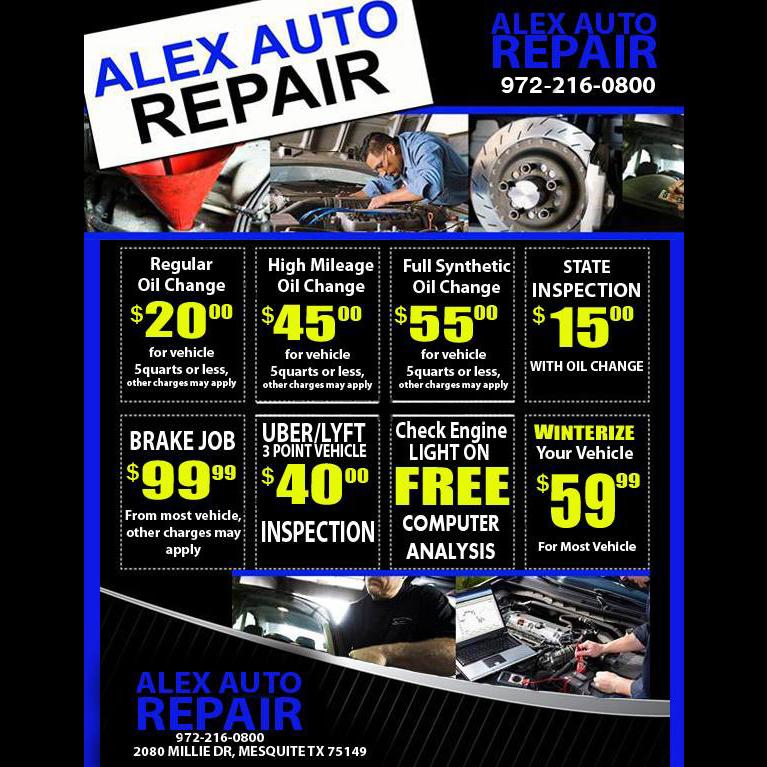 Alex Auto Repair & Tire Services - car dealer  | Photo 2 of 2 | Address: 2080 Millie Dr, Mesquite, TX 75149, USA | Phone: (972) 216-0800