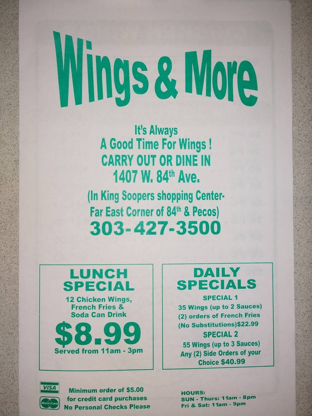 Wings & More - restaurant  | Photo 10 of 10 | Address: 1407 W 84th Ave, Denver, CO 80260, USA | Phone: (303) 427-3500