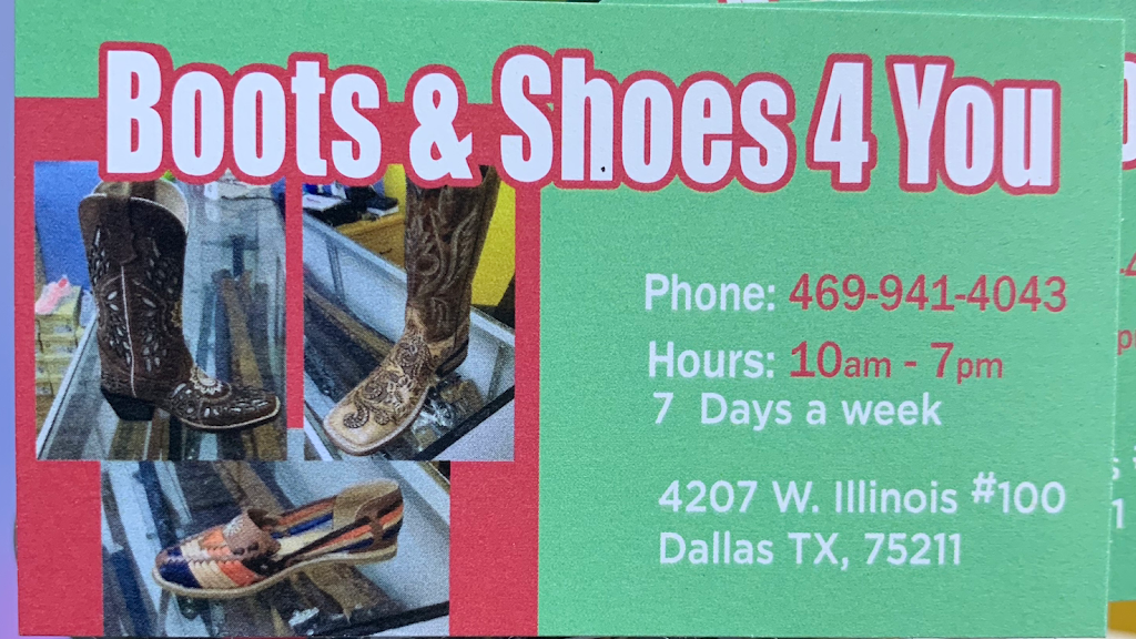 Boots & Shoes 4 You - shoe store    Photo 3 of 9   Address: 4207 W Illinois Ave #100, Dallas, TX 75211, USA   Phone: (469) 941-4043