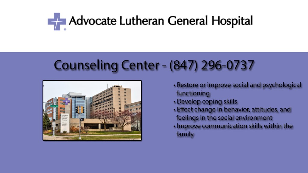 Advocate Lutheran General Hospital Counseling Center - hospital  | Photo 1 of 2 | Address: 1700 Luther Ln, Park Ridge, IL 60068, USA | Phone: (847) 296-0737