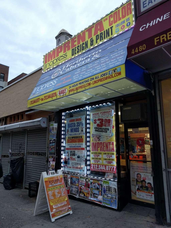 Lino Press NY - store  | Photo 1 of 2 | Address: 4482 Broadway, New York, NY 10040, USA | Phone: (212) 544-0777