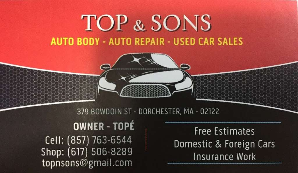 Top & Sons - car repair    Photo 2 of 2   Address: 379 Bowdoin St, Dorchester, MA 02122, USA   Phone: (617) 506-8289