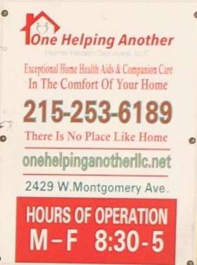One Helping Another Home Health Services, LLC - health  | Photo 2 of 3 | Address: 2429 W Montgomery Ave, Philadelphia, PA 19121, USA | Phone: (215) 253-6189