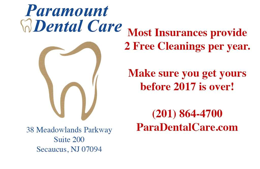 Paramount Dental Care - dentist  | Photo 6 of 10 | Address: 38 Meadowlands Pkwy #200, Secaucus, NJ 07094, USA | Phone: (201) 864-4700