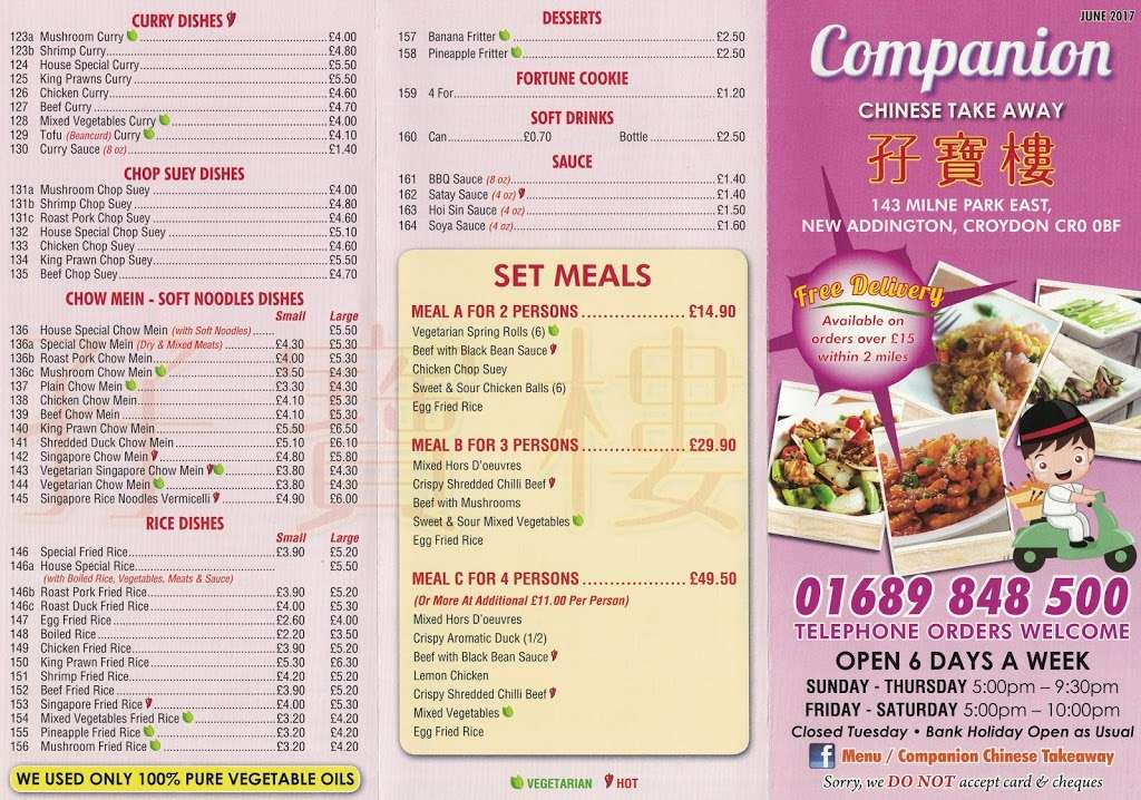 "Companion Chinese Takeaway (Click ""Website"" for Menu) - meal takeaway    Photo 2 of 3   Address: 143 Milne Park E, New Addington, Croydon CR0 0BF, UK   Phone: 01689 848500"