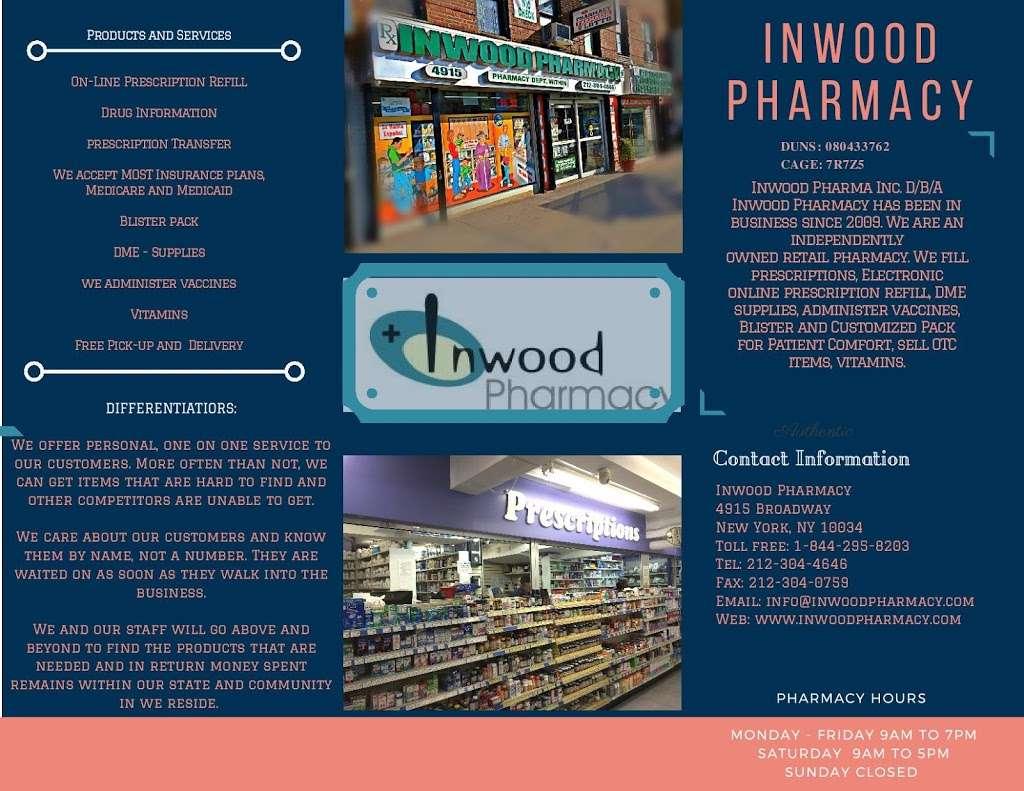 Inwood Pharma Inc D/B/A Inwood Pharmacy - pharmacy  | Photo 3 of 3 | Address: 4915 Broadway # 1, New York, NY 10034, USA | Phone: (212) 304-4646