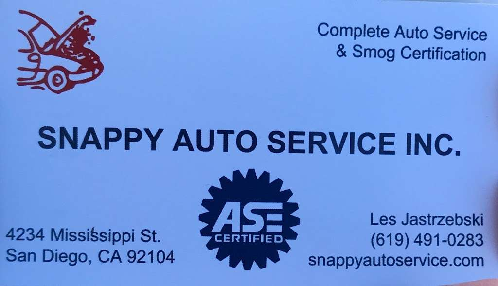 Snappy Auto Repair - car repair  | Photo 3 of 3 | Address: 4234 Mississippi St, San Diego, CA 92104, USA | Phone: (619) 491-0283