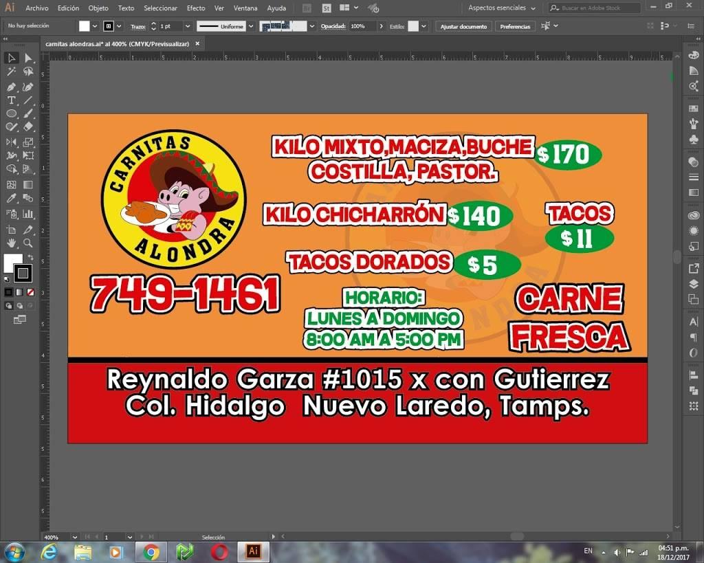 Carnitas Alondra - restaurant    Photo 2 of 3   Address: Reynaldo garza#1015, Hidalgo, 88000 Nuevo Laredo, Tamps., Mexico   Phone: 867 749 1461