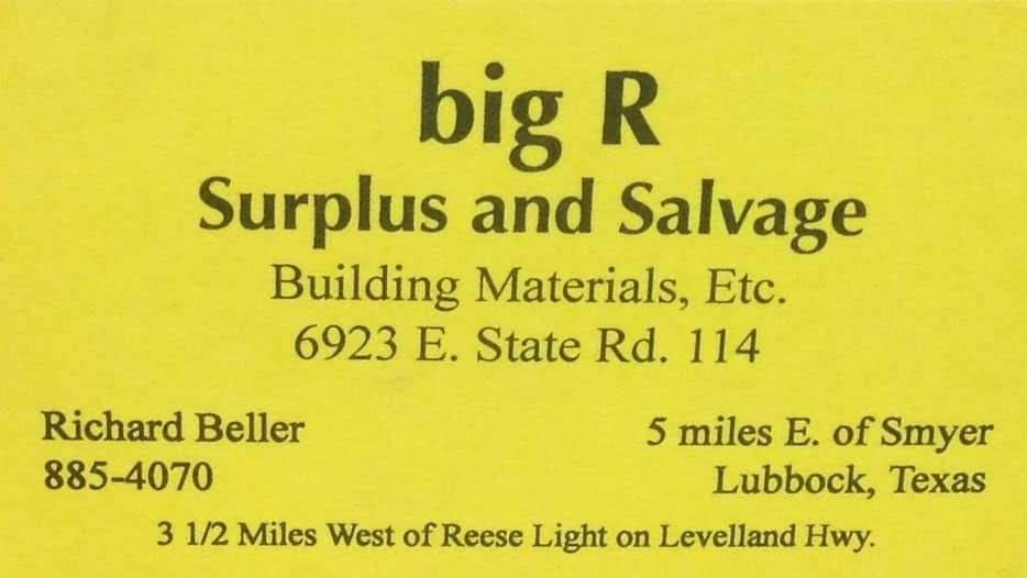 Big R Surplus & Salvage - hardware store  | Photo 2 of 6 | Address: 6923 E, State Rd 114, Lubbock, TX 79407, USA | Phone: (806) 885-4070