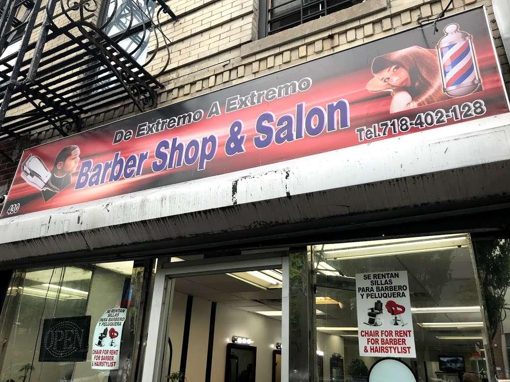 De Extremo A Extremo Barber Shop & Salon - hair care  | Photo 1 of 3 | Address: 430E E 138th St, Bronx, NY 10454, USA | Phone: (718) 676-0586