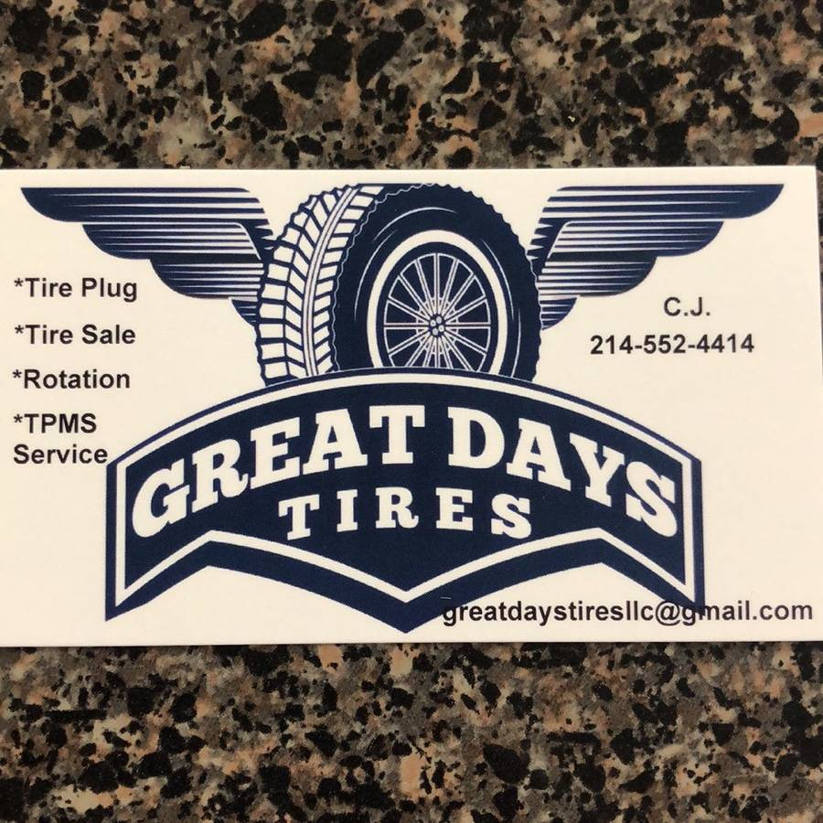 Great Days Tires LLC (Mobile) - car repair  | Photo 4 of 6 | Address: The pin located at 32.661661, -96.958202 should be removed or moved to 8334, Timberbrook Ln, Dallas, TX 75249, USA | Phone: (214) 552-4414