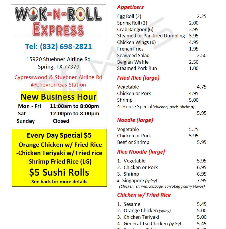 Wok-n-Roll Express - Restaurant   15920 Stuebner Airline Rd
