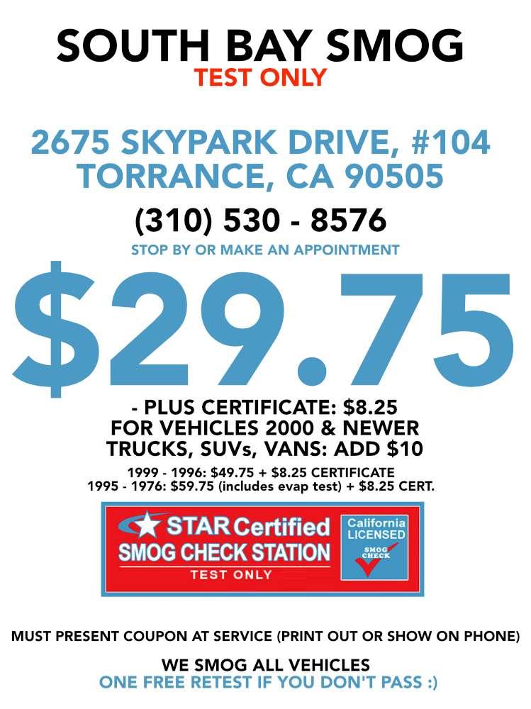 South Bay Smog 29.75 Test Only Star Station - car repair  | Photo 5 of 8 | Address: 2675 Skypark Dr UNIT 104, Torrance, CA 90505, USA | Phone: (310) 530-8576