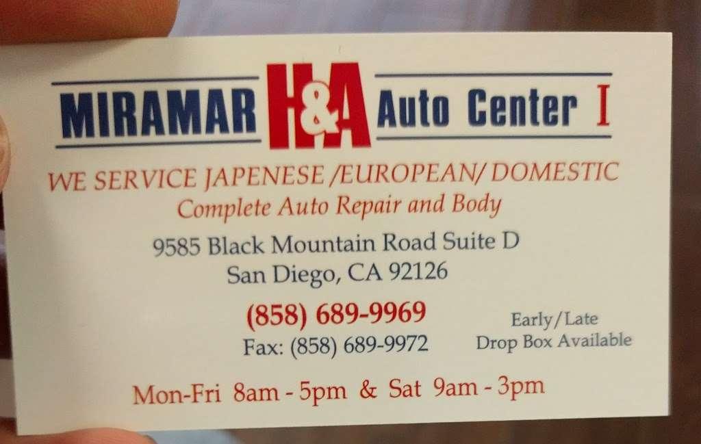 Miramar H & A Specialist - car repair  | Photo 1 of 1 | Address: 9585 Black Mountain Rd, San Diego, CA 92126, USA | Phone: (858) 689-9969