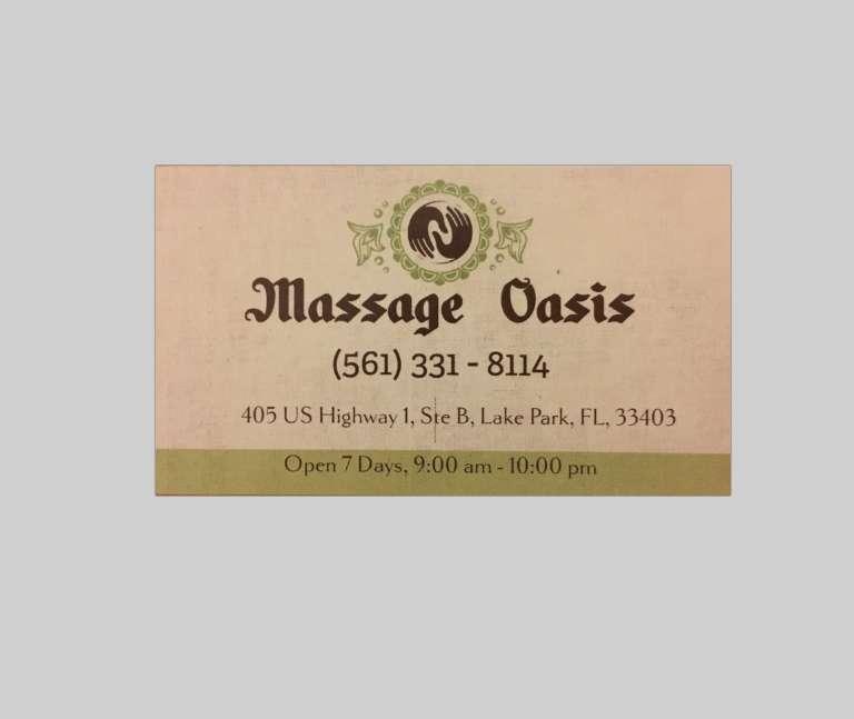 Massage Oasis - spa  | Photo 3 of 3 | Address: 405 US-1 suite b, Lake Park, FL 33403, USA | Phone: (561) 331-8114