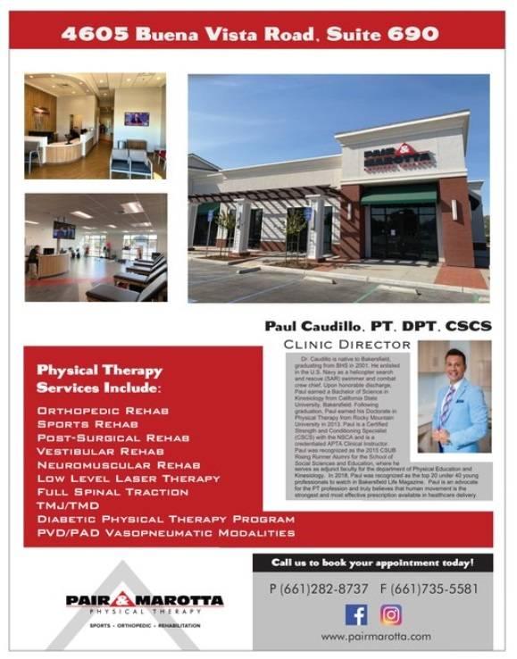 Pair & Marotta Physical Therapy - Buena Vista - health  | Photo 8 of 10 | Address: 4605 Buena Vista Rd Suite 690, Bakersfield, CA 93311, USA | Phone: (661) 282-8737