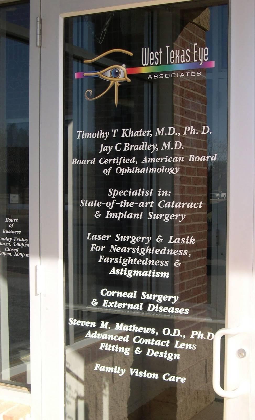 West Texas Eye Associates - health    Photo 8 of 8   Address: 12210 Quaker Ave, Lubbock, TX 79424, USA   Phone: (806) 792-5900