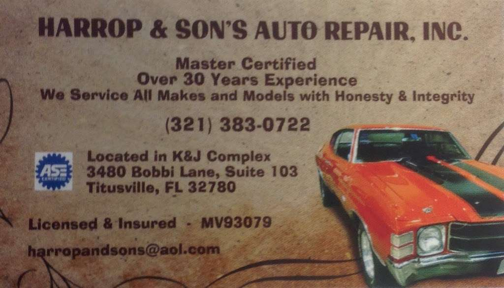 Harrop & Sons Auto Repair Inc. - car repair  | Photo 4 of 6 | Address: 3480 Bobbi Ln #103, Titusville, FL 32780, USA | Phone: (321) 383-0722