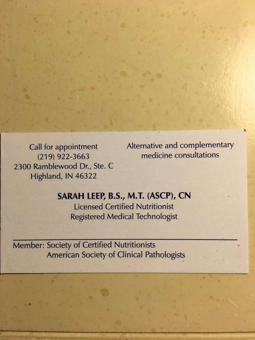 Sarah J. Leep, B.S., M.T. (ASCP), C.N. - doctor  | Photo 1 of 1 | Address: 2300 Ramblewood Dr c, Highland, IN 46322, USA | Phone: (219) 922-3663
