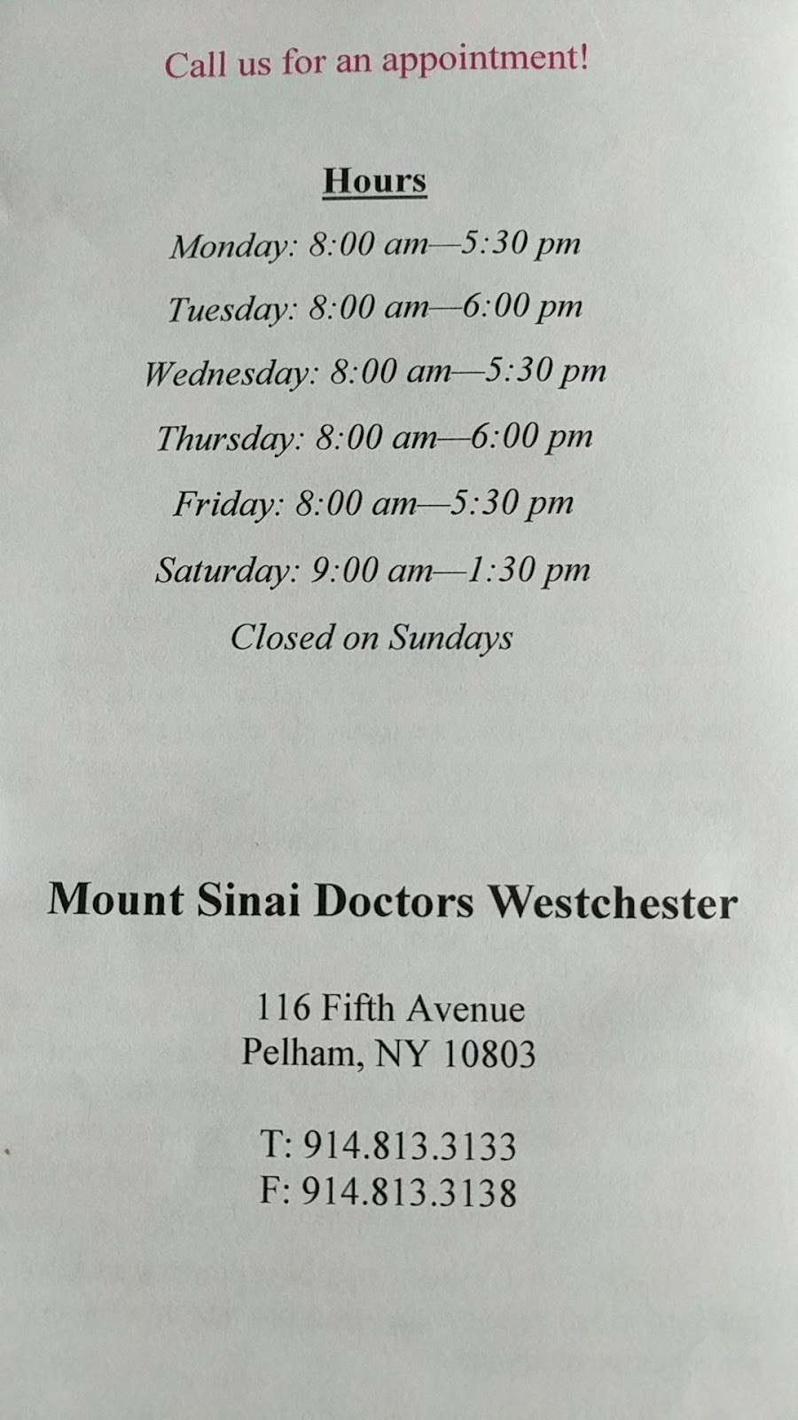 Mount Sinai Doctors Westchester - doctor  | Photo 2 of 2 | Address: 116 Fifth Ave, Pelham, NY 10803, USA | Phone: (914) 813-3133