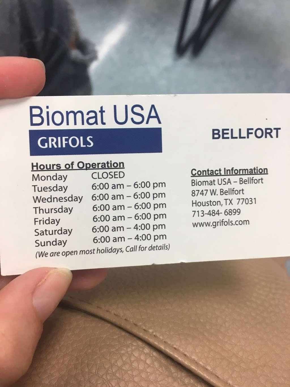 Biomat USA - hospital  | Photo 2 of 2 | Address: 8747 W Bellfort Ave, Houston, TX 77031, USA | Phone: (713) 484-6899