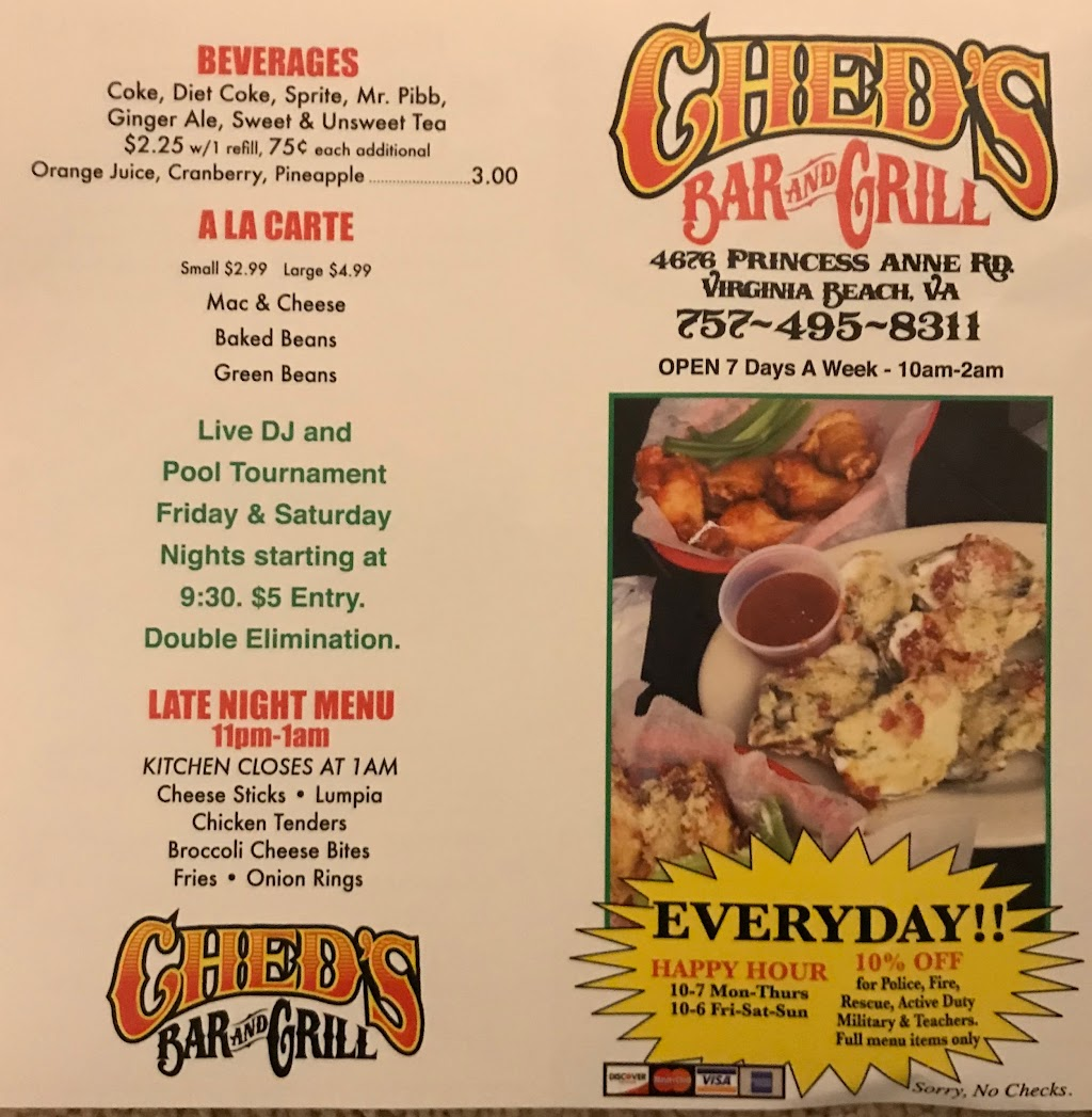 Cheds Bar and Grill - restaurant  | Photo 8 of 10 | Address: 4676 Princess Anne Rd unit 390, Virginia Beach, VA 23462, USA | Phone: (757) 495-8311