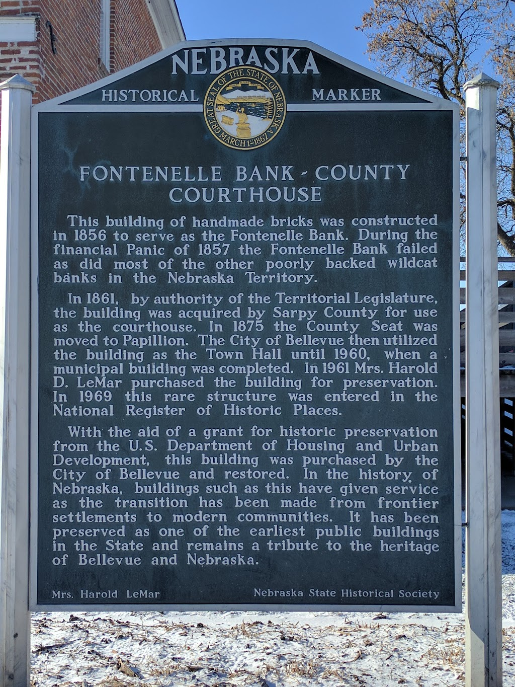 Fontenelle Bank - County Courthouse Historical Marker - atm    Photo 3 of 8   Address: Bellevue, NE 68005, USA   Phone: (402) 292-1880