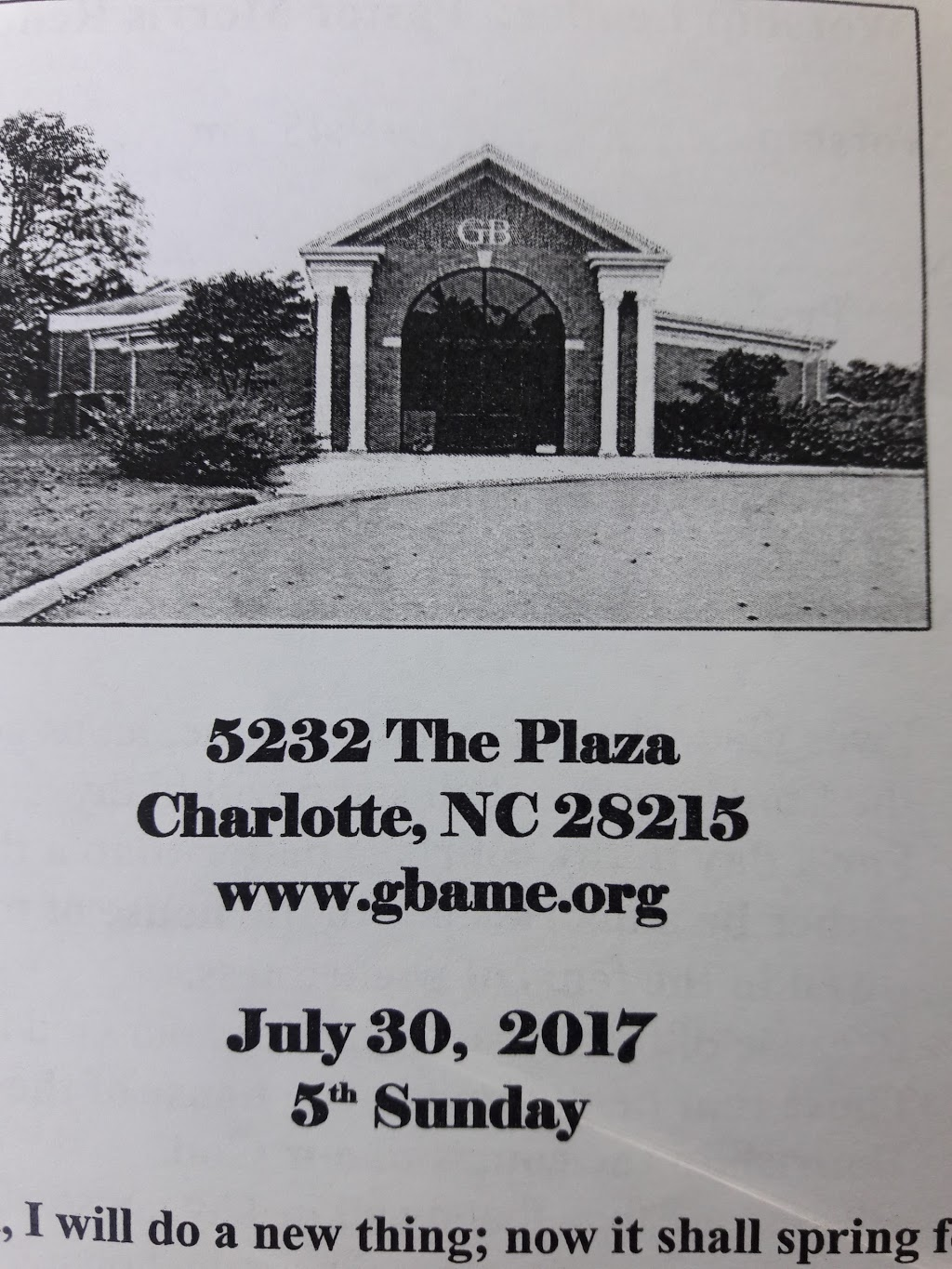 Greater Bethel AME Church - church  | Photo 4 of 5 | Address: 5232 The Plaza, Charlotte, NC 28215, USA | Phone: (980) 949-6576