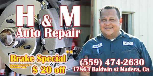 H&M Auto Repair - car repair    Photo 8 of 8   Address: 17863 Baldwin St #A, Madera, CA 93638, USA   Phone: (559) 474-2630