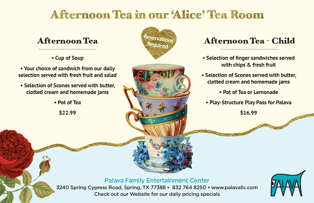 The Tea Room at Palava - cafe    Photo 2 of 2   Address: Within Palava Family Entertainment Center, 3240 Spring Cypress Rd, Spring, TX 77388, USA   Phone: (832) 764-8250