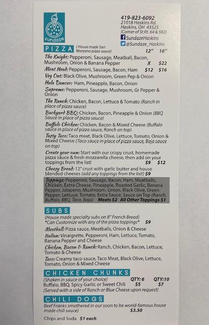 Sundaze - restaurant    Photo 7 of 7   Address: 21018 Haskins Rd, Haskins, OH 43525, USA   Phone: (419) 823-6092