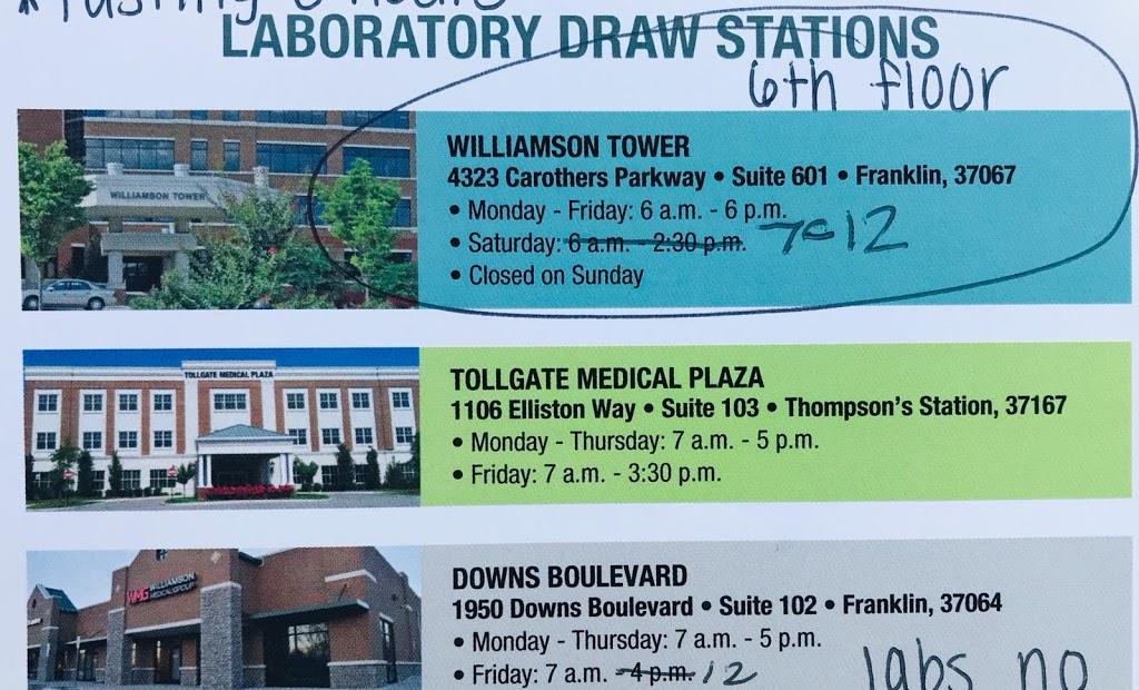 Williamson Laboratory Draw Station - hospital  | Photo 1 of 1 | Address: 4323 S Carothers Rd, Franklin, TN 37064, USA | Phone: (615) 435-5800