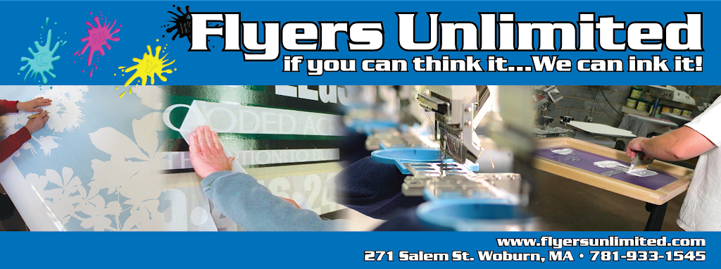 Flyers Unlimited - store    Photo 5 of 5   Address: 271 Salem St unit j, Woburn, MA 01801, USA   Phone: (781) 933-1545
